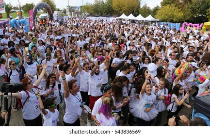 ISTANBUL, TURKEY - OCTOBER 09, 2016: People are waiting to start of Color Sky 5K run in Istanbul