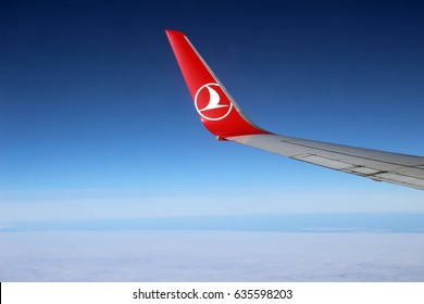 Istanbul, Turkey; October 1, 2015: Turkish Airlines airplane wing let at the sky, over the Prince Islands.
