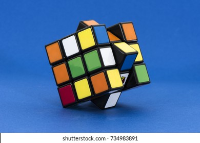 ISTANBUL -TURKEY - OCTOBER 1, 2017: Rubik's cube on the white background. Rubik's Cube on a white background. Rubik's Cube invented by a Hungarian architect Erno Rubik in 1974.