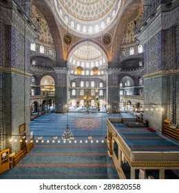 Istanbul, Turkey - October 10, 2014. Interior view of New Valide Mosque on October 10, 2014.New mosque in Fatih and cost of Goldenhorn, Istanbul, Turkey