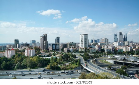 ISTANBUL, TURKEY - OCTOBER 10 ,2016:Zincirlikuyu and Gayrettepe District in istanbul. Skyscrapers,mall and residences in Zincirlikuyu, one of the most populated financial districts of Istanbul.