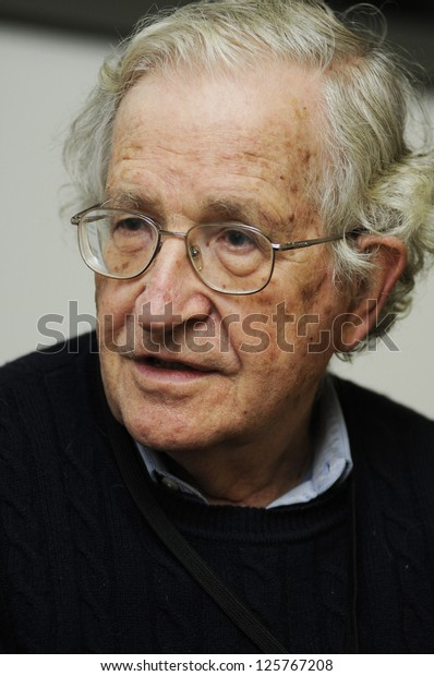 ISTANBUL, TURKEY - OCTOBER 10: Reputed author Noam Chomsky answers questions by the journalist at his visit to Turkey on October 10, 2010 in Istanbul, Turkey.
