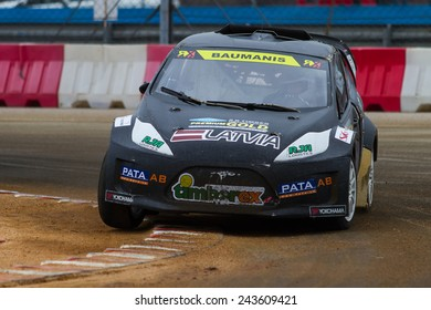 ISTANBUL, TURKEY - OCTOBER 11, 2014: Janis Baumanis drives RX Lites of Set Promotion Team in FIA World Rallycross Championship.