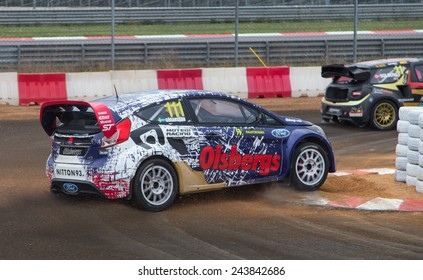 ISTANBUL, TURKEY - OCTOBER 11, 2014: Richard Goransson drives Ford Fiesta ST of Olsbergs Team in FIA World Rallycross Championship.