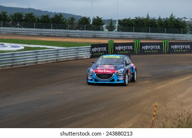 ISTANBUL, TURKEY - OCTOBER 11, 2014: Timmy Hansen drives Peugeot 208 of Team Peugeot Hansen in FIA World Rallycross Championship.
