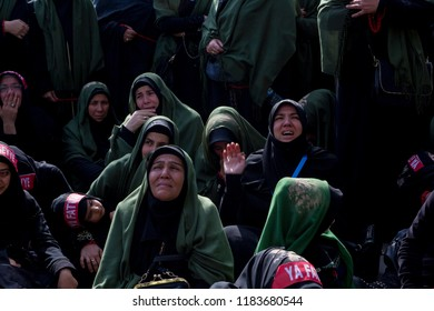 Istanbul, Turkey- October 11, 2016 : Ashura (asura or asure) ceremony in Halkali, istanbul.These young Shia girls mourn for Husayn who killed in Battle of Karbala