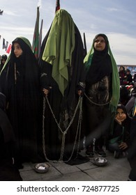 Istanbul, Turkey- October 11, 2016 : Ashura (asura or asure) ceremony in Halkali, istanbul.These young Shia (alevi) girls mourn for Husayn who killed in Battle of Karbala
