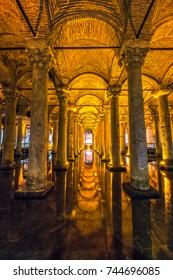 ISTANBUL, TURKEY - OCTOBER 11, 2016: Yerebatan Saray - Basilica Cistern in Istanbul, Turkey. Yerebatan Saray is one of favorite tourist attraction in Istanbul.