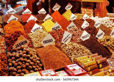 ISTANBUL, TURKEY : OCTOBER 12, 2014 Egyptian Bazaar. The Spice Bazaar in Istanbul, Turkey is one of the largest bazaars in the city.