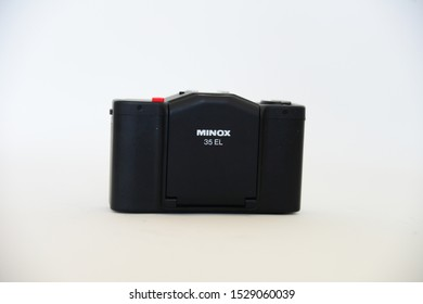 ISTANBUL, TURKEY, OCTOBER 12, 2019: MINOX 35 EL film camera studio shot.Minox 35 EL continued Minox's successful range of 35mm compact cameras,reputedly the smallest full-frame 35mm cameras ever made