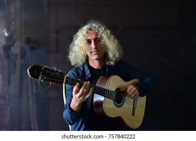 ISTANBUL, TURKEY - OCTOBER 12: Turkish singer Ahmet Aslan Portrait on Octeber 12, 2017 in Istanbul, Turkey