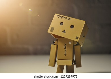 ISTANBUL, TURKEY - OCTOBER 14, 2018: Danbo looking at light