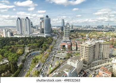 ISTANBUL, TURKEY, OCTOBER 14,2016: Skyscrapers,residences and dense traffic can be seen in Levent District of Istanbul, one of the most populated financial zones in Istanbul.