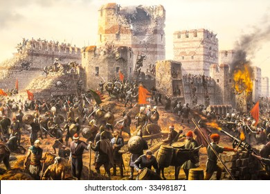 ISTANBUL, TURKEY - OCTOBER 16, 2015:Fall of Constantinople in 1453. Captured by Mehmet. Diorama in Askeri Museum, Istanbul, Turke