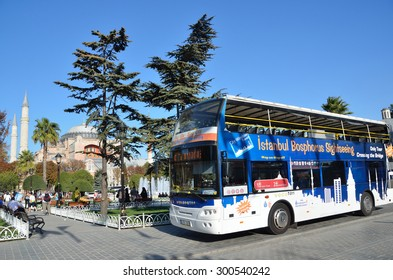 Istanbul, Turkey, October, 18, 2013. Touristic bus near Aya Sofya Museum