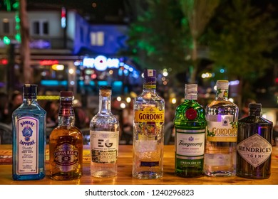 Istanbul, Turkey - October 19, 2018 ; Editorial image of some alcohol bottles in a row, displayed in a pub or restaurant.