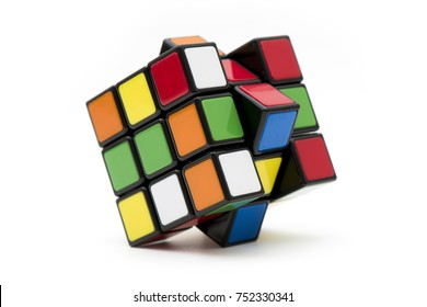 Istanbul, TURKEY. October 2, 2017. Huge 3x3 Rubik's cube on the white background. Solving difficult tasks.
