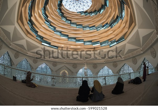 Istanbul, Turkey - October 2016: Marmara University Faculty of Theology Interior view of the mosque. Altunizade, Istanbul, Turkey.