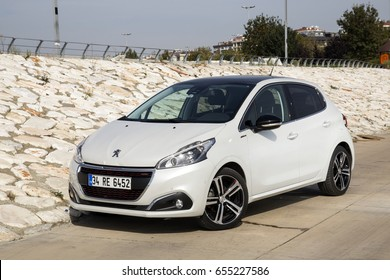 Istanbul, Turkey- October 2016. Peugeot 208 GT Line is parking