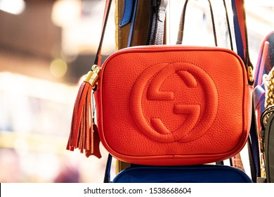 Istanbul Turkey - October 2019 Fake orange Gucci handbag being sold at one of the shops at the Grand Bazaar