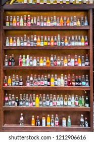 Istanbul, Turkey - October 21, 2018: A small shop in Balat, Istanbul sells only Turkish local sodas from all cities and different brands.