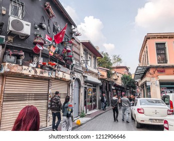 Istanbul, Turkey - October 21, 2018: Street view from Balat district of Fatih, Istanbul. Balat is one of the oldest neighborhoods in Istanbul with interesting architectural style and social diversity.