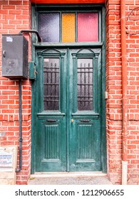 Istanbul, Turkey - October 21, 2018: Old door in Balat district of Fatih, Istanbul. Balat is one of the oldest neighborhoods in Istanbul with interesting architectural style and social diversity.