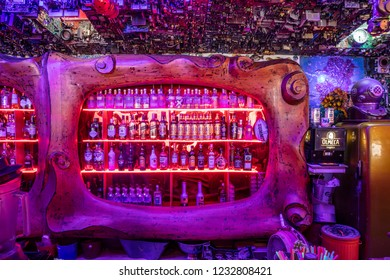 Istanbul, Turkey - October 21, 2018; a variety of bottles Scotch whiskey and vodka of international brands displayed on the shelf ready for sales at bar drinking department  store, Istanbul, Turkey