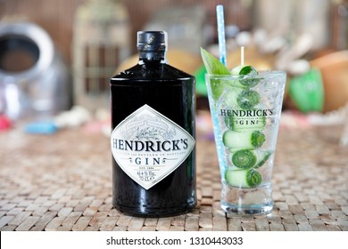 Istanbul, Turkey - October 22, 2018; Bottle of Hendrick's Gin and tonic. Ready for service on wooden table.
