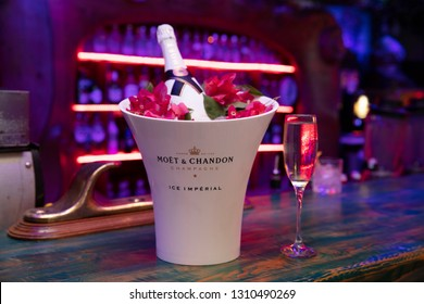 Istanbul, Turkey - October 22, 2018; Bottle of Moet & Chandon champagne in the restaurant. The bar is ready for service. Istanbul, Turkey.