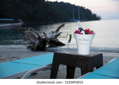 Istanbul, Turkey - October 22, 2018; Bottle of Moet & Chandon champagne in the restaurant. Champagne service on the beach. Istanbul, Turkey.