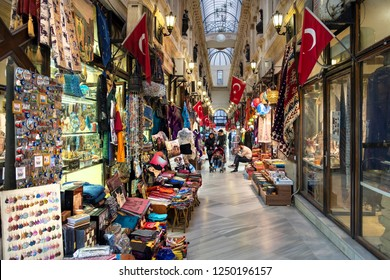 ISTANBUL, TURKEY, OCTOBER 24, 2018: Interior detail from Avrupa Pasaji (European Arcade), one of the oldest arcades attracting many tourists at Istiklal Avenue on Beyoglu district.