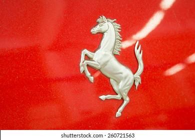 ISTANBUL, TURKEY - OCTOBER 25, 2014: Logo of a Ferrari car during Ferrari Racing Days in Istanbul Park Racing Circuit