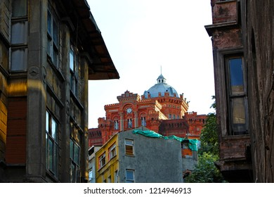ISTANBUL, TURKEY OCTOBER 25 2018: Colorful Houses in old city Balat. October 20 in Istanbul, Turkey.