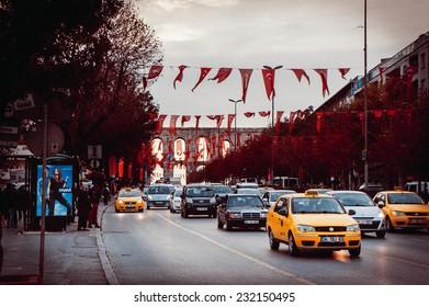 ISTANBUL, TURKEY - OCTOBER 26, 2014 : Car traffic near Valens Aqueduct (Bozdogan Kemeri) on October 26 in Istanbul, Turkey. Toned image