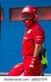 ISTANBUL, TURKEY - OCTOBER 26, 2014: Pit stop crew of Formula 1 car in Ferrari Racing Days in Istanbul Park Racing Circuit