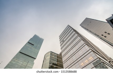 ISTANBUL, TURKEY - OCTOBER 27: Skyscrapers and modern office buildings at Levent District. With Bosphorus background. October 27, 2014 in Istanbul, Turkey
