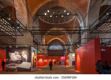 Istanbul, Turkey - OCTOBER 29, 2013: Visitors in Tophane-i Amire, a modern exhibition hall, former cannon foundry. Joan Miro exhibition.
