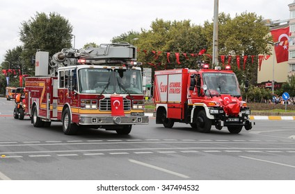 ISTANBUL, TURKEY - OCTOBER 29, 2015: Firetruck in Vatan Avenue during 29 October Republic Day celebration of Turkey