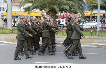 ISTANBUL, TURKEY - OCTOBER 29, 2015: Soldiers march in Vatan Avenue during 29 October Republic Day celebration of Turkey