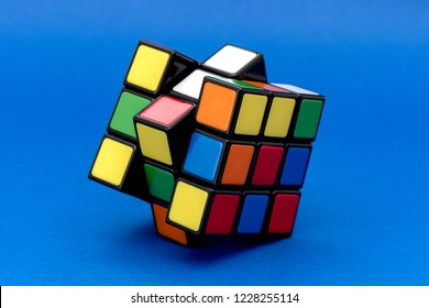 ISTANBUL - TURKEY - OCTOBER 29, 2018: Rubik's cube on the black background. Rubik's Cube invented by a Hungarian architect Erno Rubik in 1974.