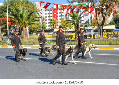 ISTANBUL, TURKEY - OCTOBER 29, 2018: parade of the armed forces of Turkey in honor of the Republic Day. K9 policemen with dogs are marching to show power and military strength of the Turkish army.