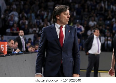 ISTANBUL / TURKEY, OCTOBER 29, 2019: Coach Andrija Gavrilovic during EuroLeague 2019-2020 Round 5 basketball game between Anadolu Efes and Crvena Zvezda at Sinan Erdem Dome.
