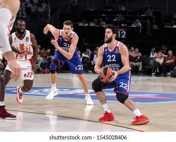 ISTANBUL / TURKEY, OCTOBER 29, 2019: Vasilije Micic during EuroLeague 2019-2020 Round 5 basketball game between Anadolu Efes and Crvena Zvezda at Sinan Erdem Dome.