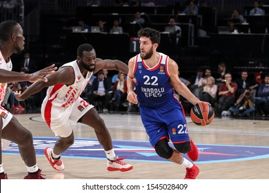 ISTANBUL / TURKEY, OCTOBER 29, 2019: Vasilije Micic and Charles Jenkins in action during EuroLeague 2019-2020 Round 5 basketball game between Anadolu Efes and Crvena Zvezda at Sinan Erdem Dome.