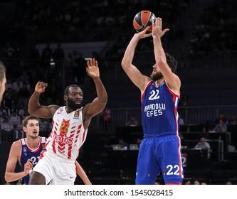 ISTANBUL / TURKEY, OCTOBER 29, 2019: Vasilije Micic shooting over Charles Jenkins during EuroLeague 2019-2020 Round 5 basketball game between Anadolu Efes and Crvena Zvezda at Sinan Erdem Dome.