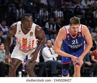 ISTANBUL / TURKEY, OCTOBER 29, 2019: EuroLeague 2019-2020 Round 5 basketball game between Anadolu Efes and Crvena Zvezda at Sinan Erdem Dome.