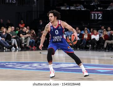 ISTANBUL / TURKEY, OCTOBER 29, 2019: Shane Larkin during EuroLeague 2019-2020 Round 5 basketball game between Anadolu Efes and Crvena Zvezda at Sinan Erdem Dome.