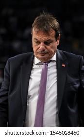 ISTANBUL / TURKEY, OCTOBER 29, 2019: Coach Ergin Ataman during EuroLeague 2019-2020 Round 5 basketball game between Anadolu Efes and Crvena Zvezda at Sinan Erdem Dome.