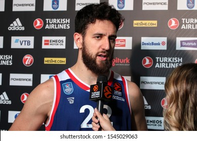 ISTANBUL / TURKEY, OCTOBER 29, 2019: Vasilije Micic during at TV interview after EuroLeague 2019-2020 Round 5 basketball game between Anadolu Efes and Crvena Zvezda at Sinan Erdem Dome.